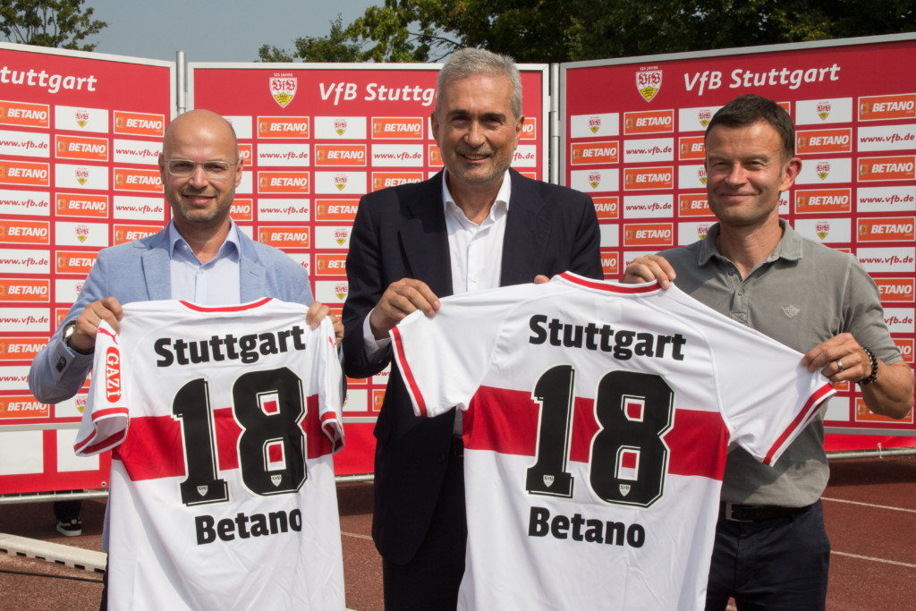 Thomas Zweimueller, Betkick CEO, Ioannis Spanoudakis, Board Member of Stoiximan and Jochen Rottgermann, Executive Board Member and Head of Marketing & Sales of Vfb Stuttgart